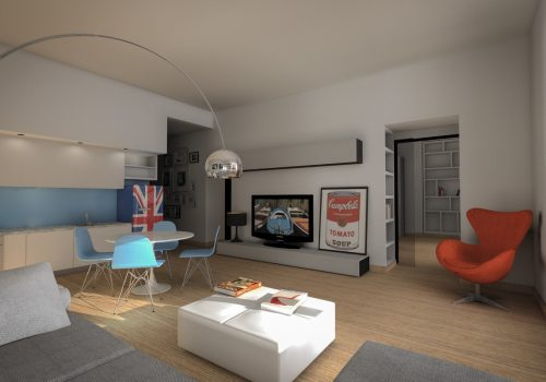 Wooden Floor Living Room Rome Apartment