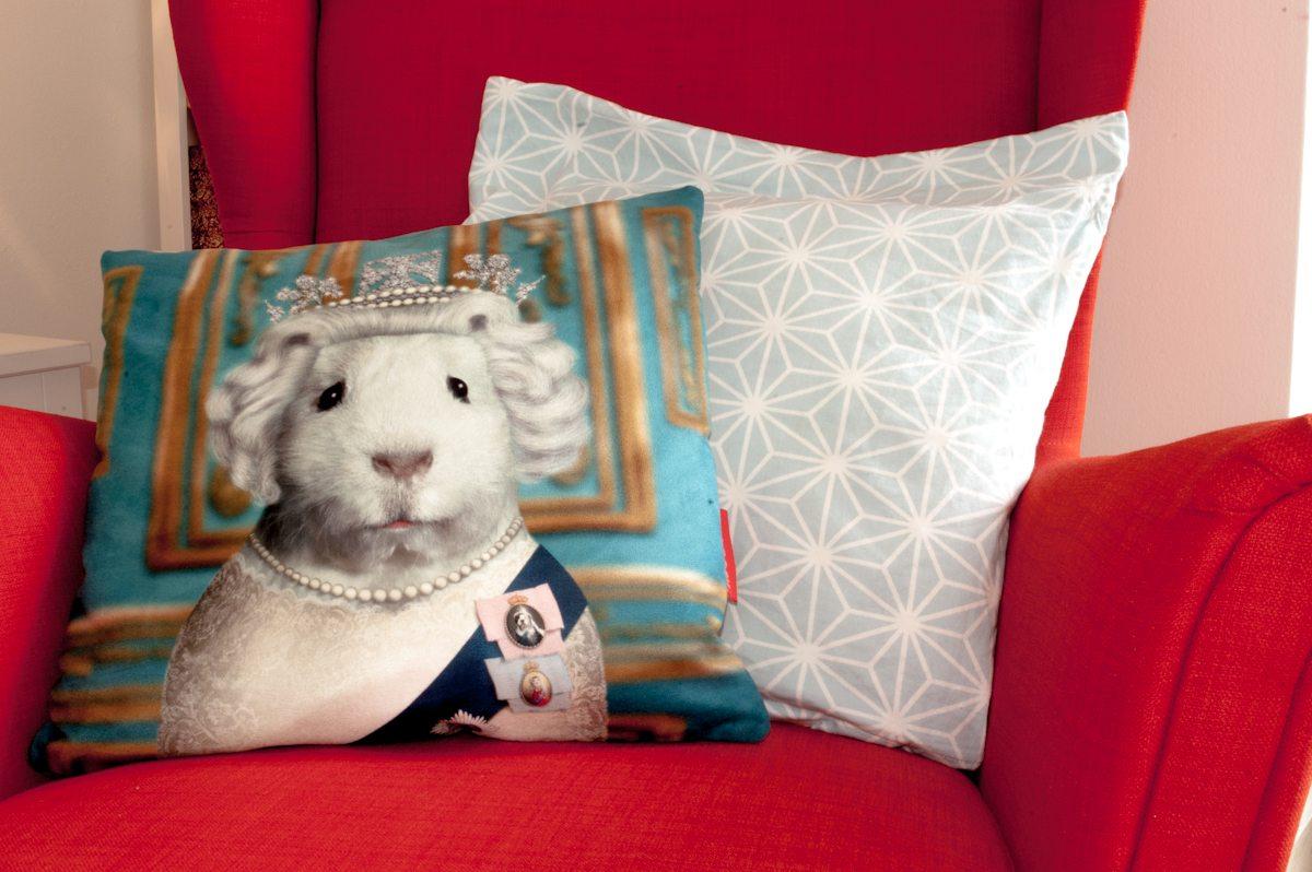 Poltrona Arancione, Con Cuscino Decorato Criceto Regina Elisabetta E Motivi Grafici Bianco E Azzurro