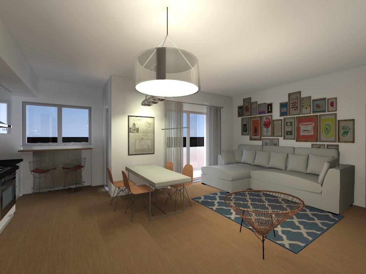 Vista Soggiorno Appartamento Con Pavimento In Legno