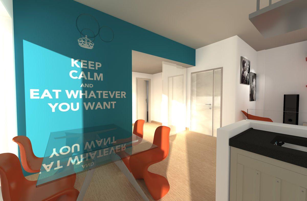 Appartamento Roma Vista Tavolo Zona Pranzo Con Muro Con Wallpaper Con Scritta