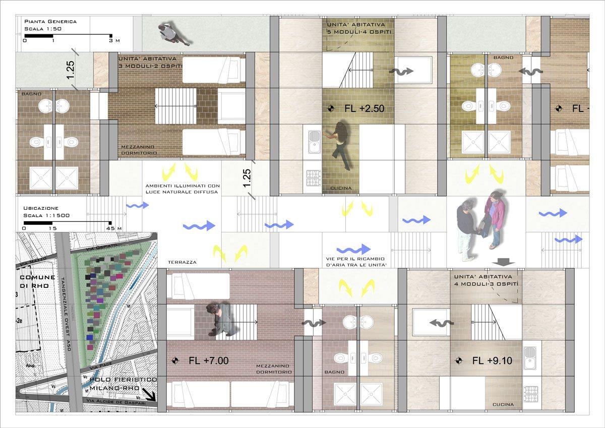 Render Progetto Residenze Temporanee Concorso Made Expo - Tavola 1 Pianta