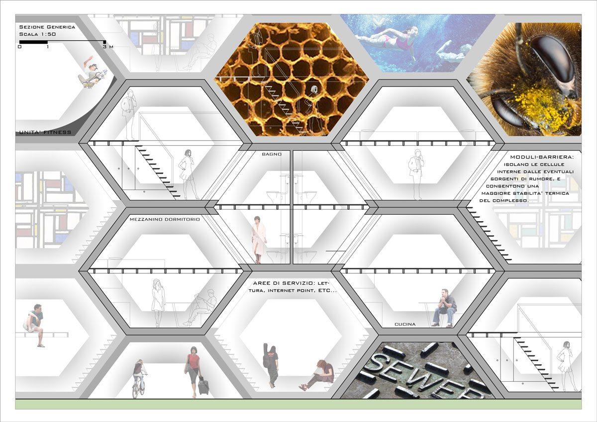 Render Progetto Residenze Temporanee Concorso Made Expo - Dettagli Tecnici Sezione Tavola 2