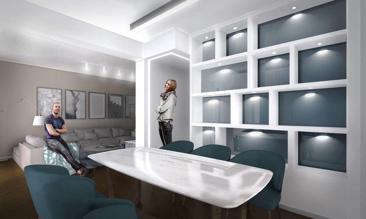 Render-progetto-interior-design-SALA-PRANZO-GIORNO-libreria