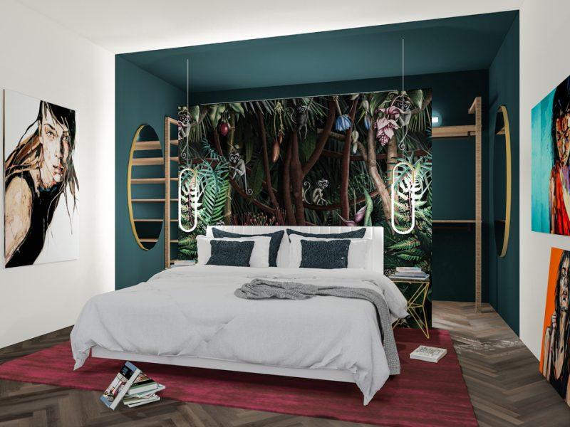 progetto camera letto luxury jungle wallpaper